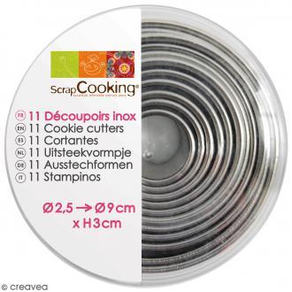 Découpoirs en inox ronds - 11 emporte pièces