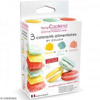 Colorants alimentaires en poudre - vert d'eau, corail, jaune