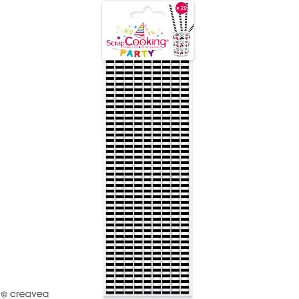 Pailles cartonnées Rayures noires - 20 pcs - Photo n°1
