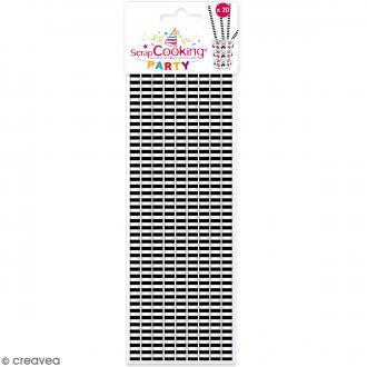 Pailles cartonnées Rayures noires - 20 pcs