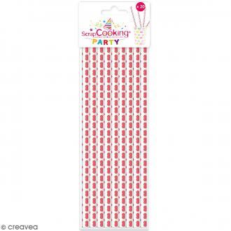Pailles cartonnées Coeurs - 20 pcs