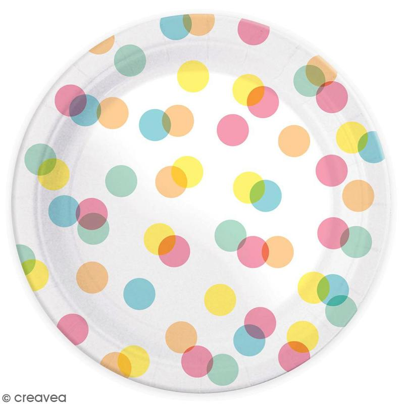 Assiettes Confettis pastels 23 cm - 8 pcs - Photo n°2