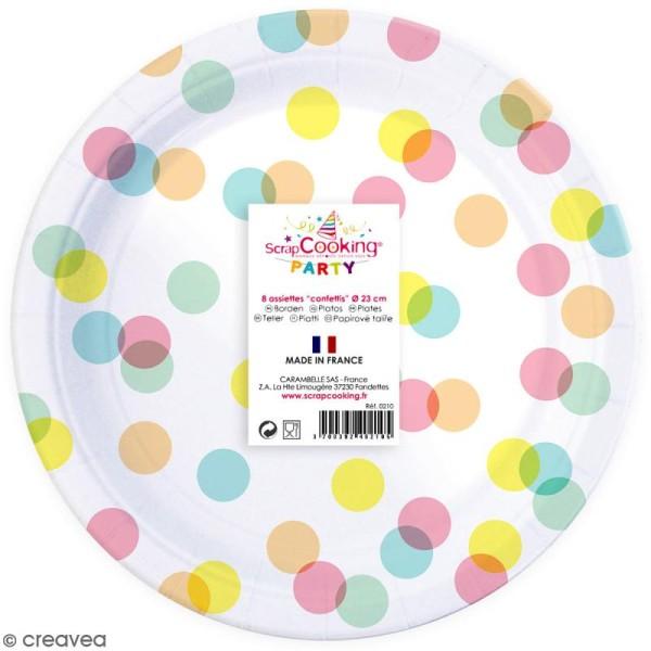 Assiettes Confettis pastels 23 cm - 8 pcs - Photo n°1
