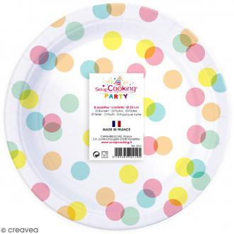 Assiettes Confettis pastels 23 cm - 8 pcs