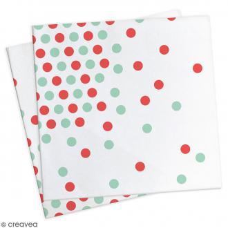 Serviettes en papier Confettis rouges et vert d'eau - 33 x 33 cm - 20 pcs