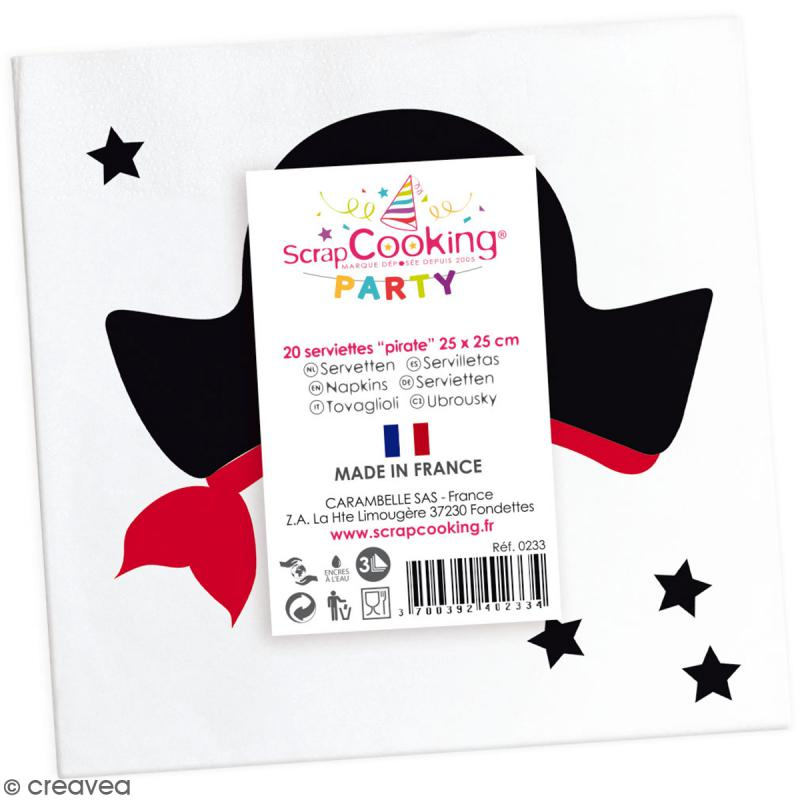 Serviettes en papier Pirate - 25 x 25 cm - 20 pcs - Photo n°2