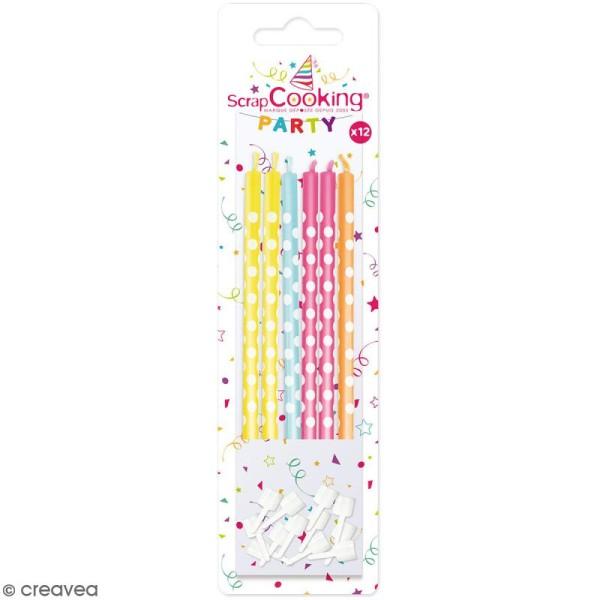 Bougies multicolores à pois blancs - 12 pcs - Photo n°1