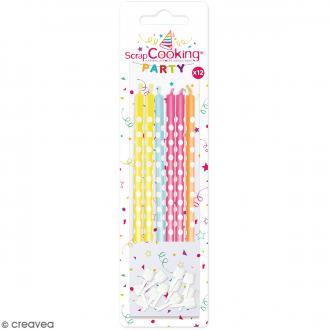 Bougies multicolores à pois blancs - 12 pcs