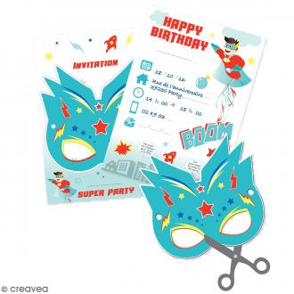 Cartes d'invitation super héros - 6 pcs