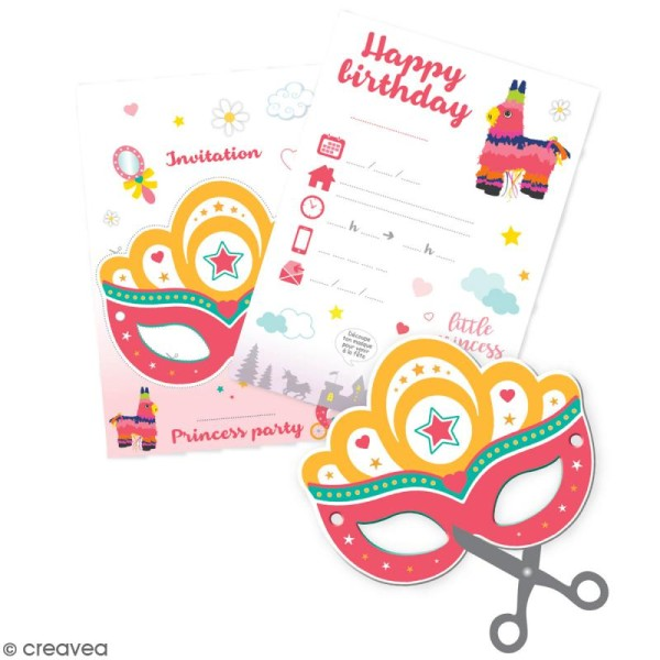 Cartes d'invitation princesse - 6 pcs - Photo n°1