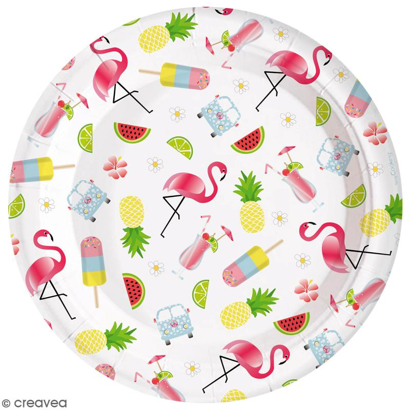 Assiettes summer 23 cm - 8 pcs - Photo n°1