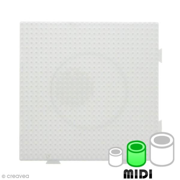 Plaque carrée emboîtable pour perles à repasser Midi - Blanche - 1 pce - Photo n°1