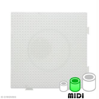 Plaque carrée emboîtable pour perles à repasser Midi - Blanche - 1 pce