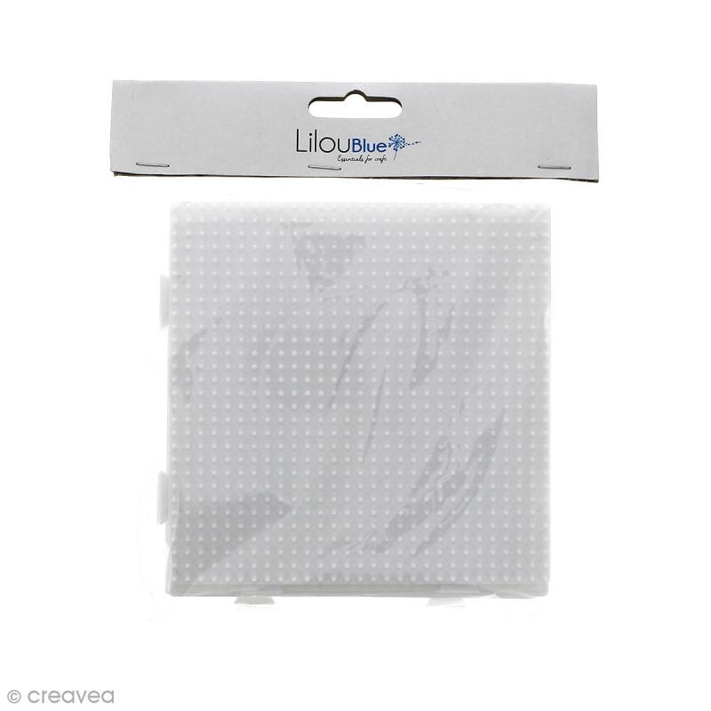 Plaques carrées emboîtables pour perles à repasser Midi - Blanches - 4 pcs - Photo n°3