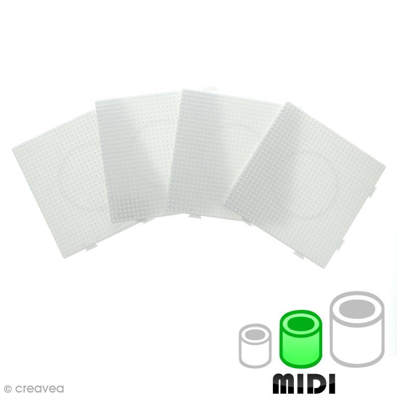 Plaques carrées emboîtables pour perles à repasser Midi - Blanches - 4 pcs - Photo n°1