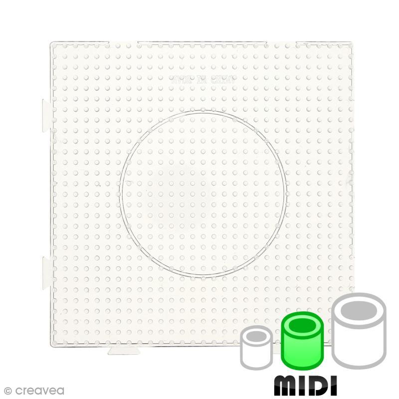 Plaque carrée emboîtable pour perles à repasser Midi - Transparente - 1 pce - Photo n°1