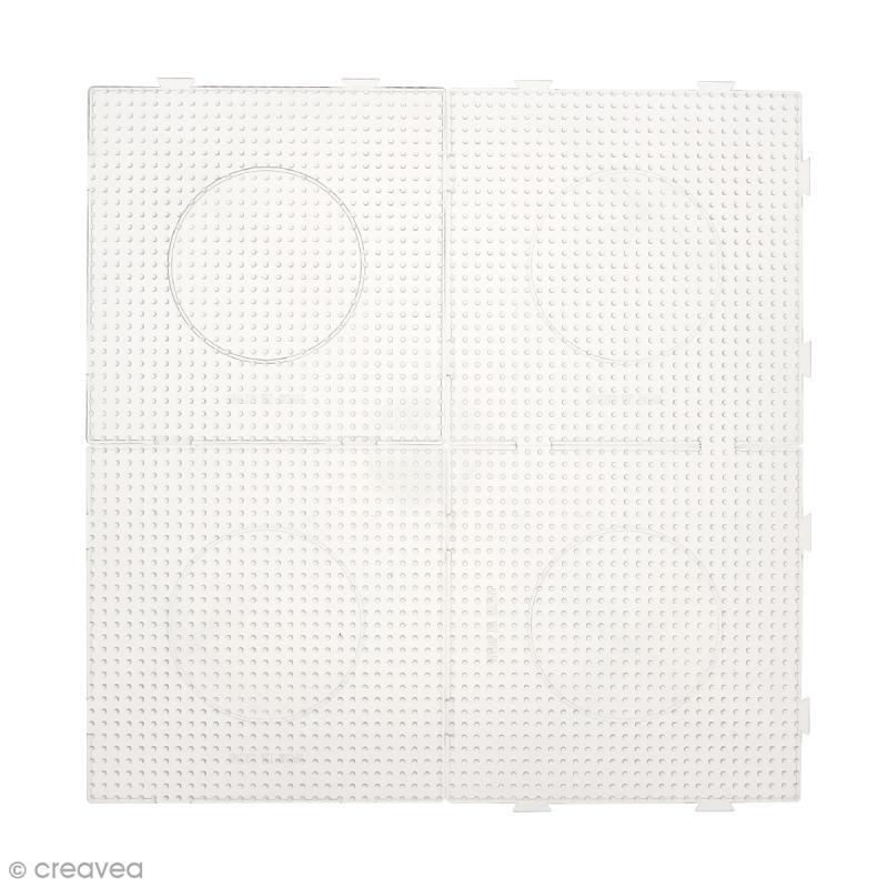 Plaques carrées emboîtables pour perles à repasser Midi - Transparentes - 4 pcs - Photo n°2