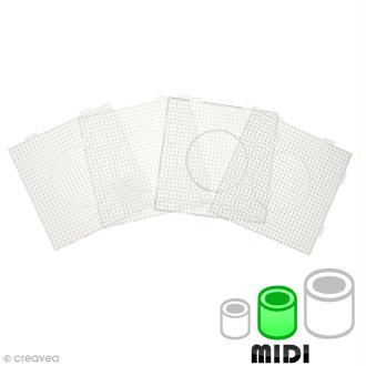 Plaques carrées emboîtables pour perles à repasser Midi - Transparentes - 4 pcs