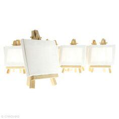 Mini chevalets avec toile 9 x 7 cm - 10 pièces