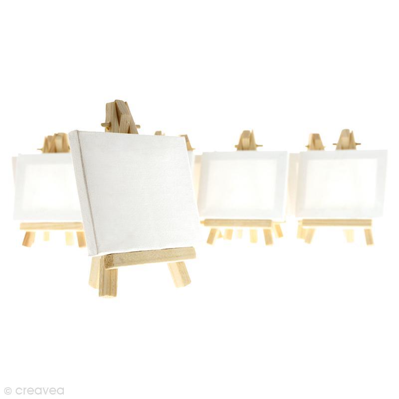 mini chevalets avec toiles de 9 x 7 cm 10 pcs chevalet creavea. Black Bedroom Furniture Sets. Home Design Ideas