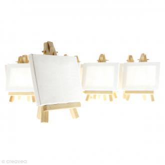 Mini chevalets avec toiles de 9 x 7 cm - 10 pcs