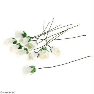 Fleurs en papier avec tige - Blanches - 10 pcs - Roses