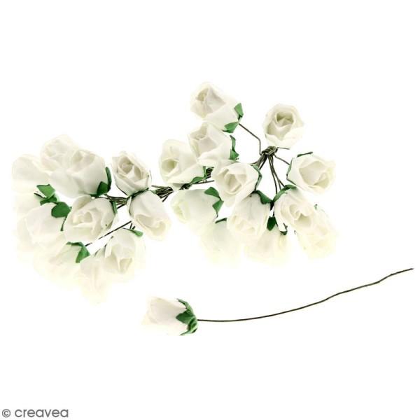 Fleurs en papier avec tige - Blanches - 25 pcs - Roses - Photo n°1