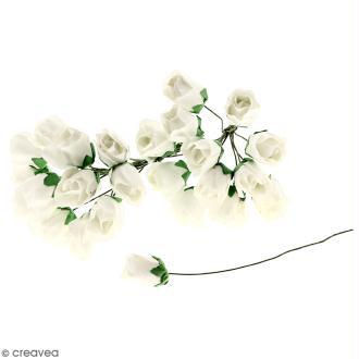 Fleurs en papier avec tige - Blanches - 25 pcs - Roses