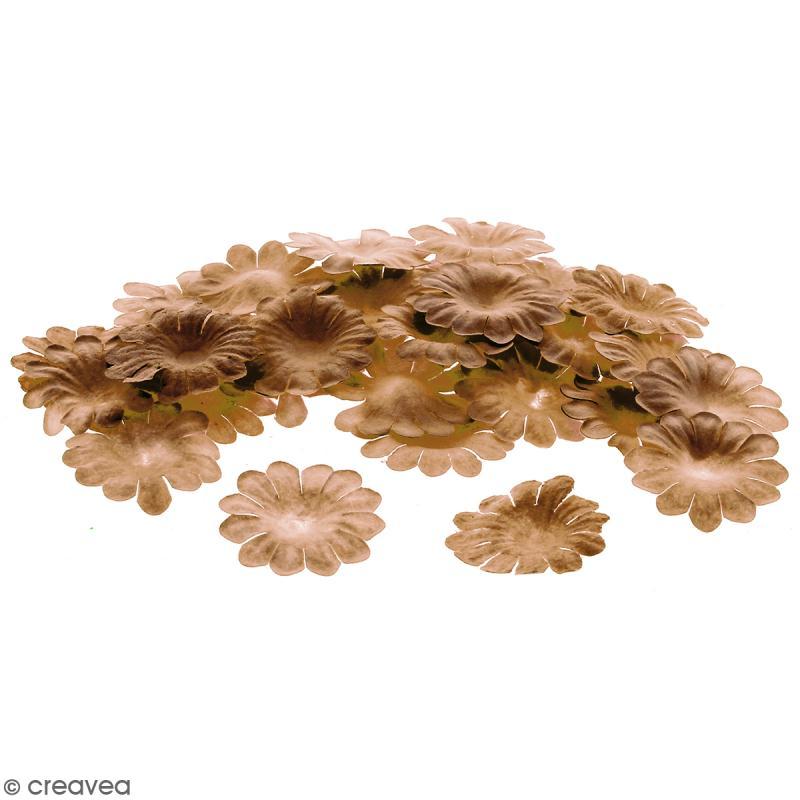 Fleurs en papier - Marguerites Marron - 2,5 cm - 50 pcs - Photo n°1