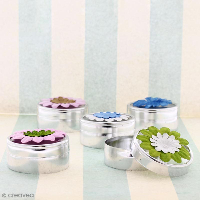 Fleurs en papier - Marguerites Bleues - 4 cm - 25 pcs - Photo n°3