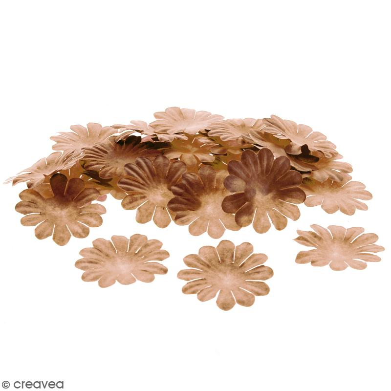 Fleurs en papier - Marguerites Marron - 4 cm - 50 pcs - Photo n°1