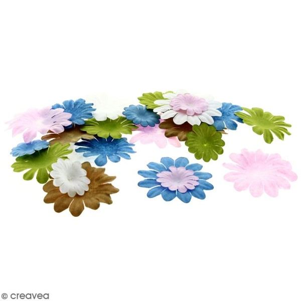 Fleurs en papier - Marguerites Multicolore - De 2,5 à 4 cm - 75 pcs - Photo n°1