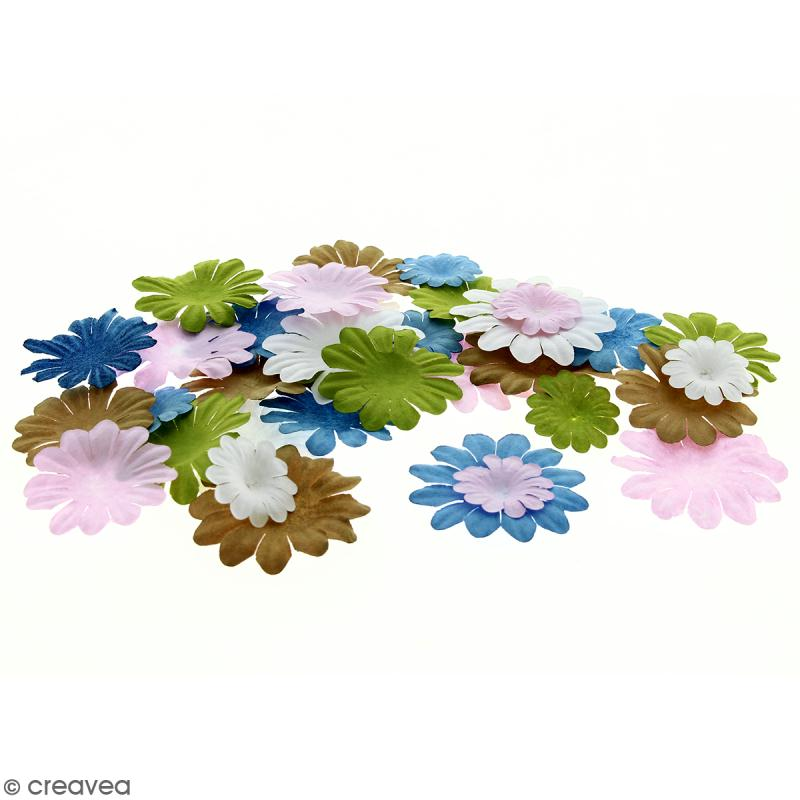 Fleurs en papier - Marguerites Multicolore - De 2,5 à 4 cm - 100 pcs - Photo n°1