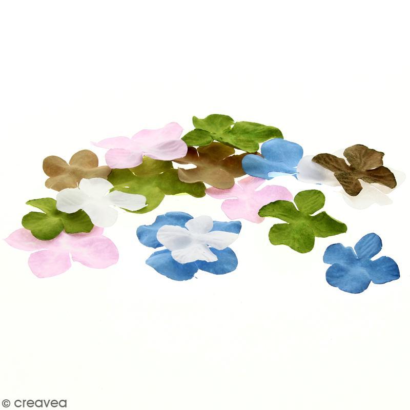Fleurs en papier - Hortensia Multicolore - De 2,5 à 4,5 cm - 50 pcs - Photo n°1