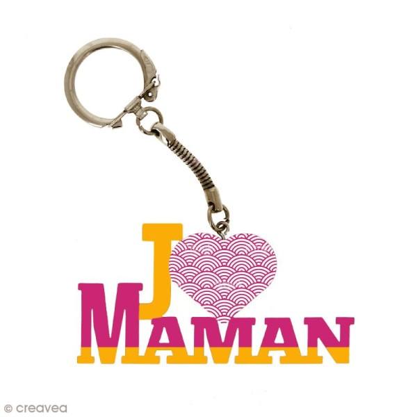 Porte clé J'aime Maman en bois à décorer - 7 x 3,7 cm - 1 pce - Photo n°2