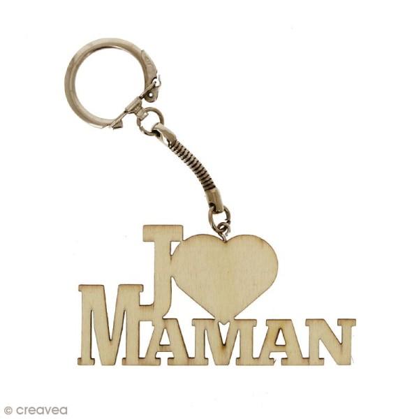 Porte clé J'aime Maman en bois à décorer - 7 x 3,7 cm - 10 pcs - Photo n°3