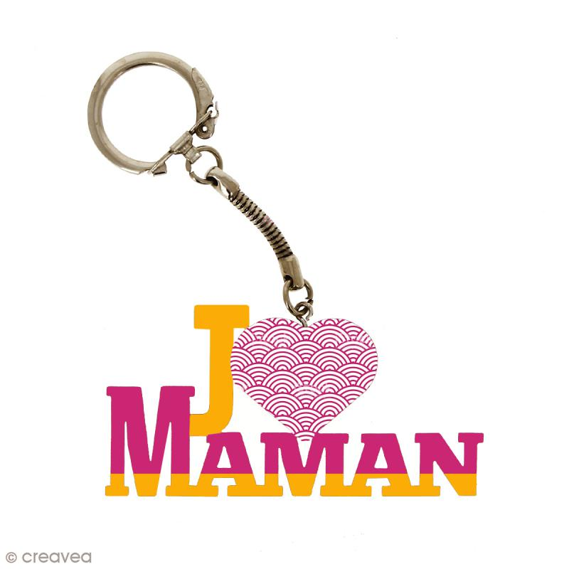 Porte clé J'aime Maman en bois à décorer - 7 x 3,7 cm - 50 pcs - Photo n°2