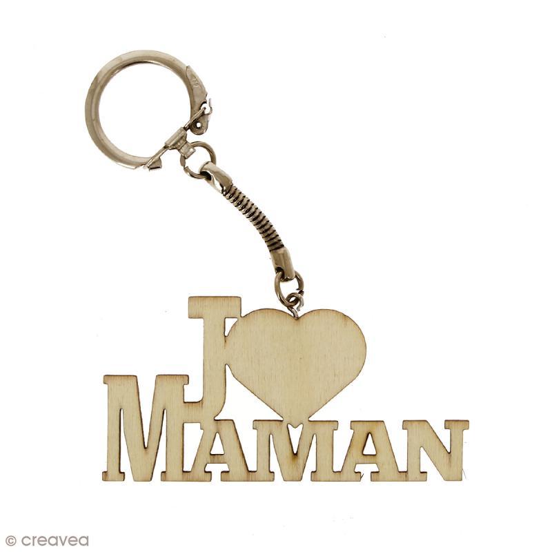 Porte clé J'aime Maman en bois à décorer - 7 x 3,7 cm - 50 pcs - Photo n°3
