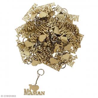 Porte clé J'aime Maman en bois à décorer - 7 x 3,7 cm - 50 pcs
