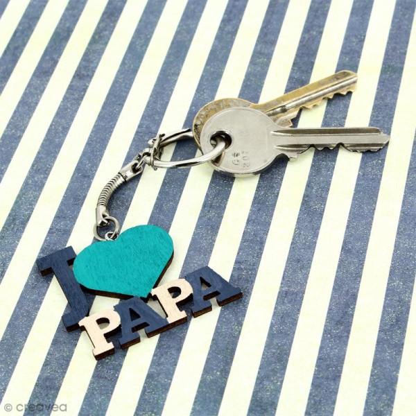 Porte clé J'aime Papa en bois à décorer - 3,7 x 4,3 cm - 1 pce - Photo n°2