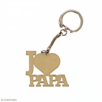 Porte clé J'aime Papa en bois à décorer - 3,7 x 4,3 cm - 1 pce