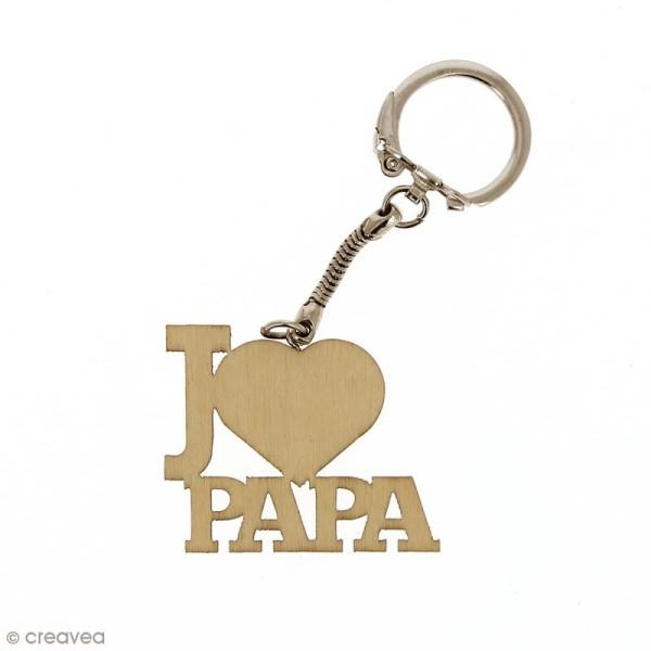 Lot de Porte clé J'aime Papa en bois à décorer - 3,7 x 4,3 cm - 50 pcs - Photo n°3
