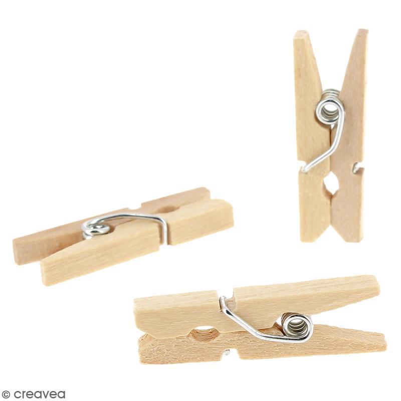 Mini pinces à linge en Bois brut - 2,5 cm - 100 pcs - Photo n°2