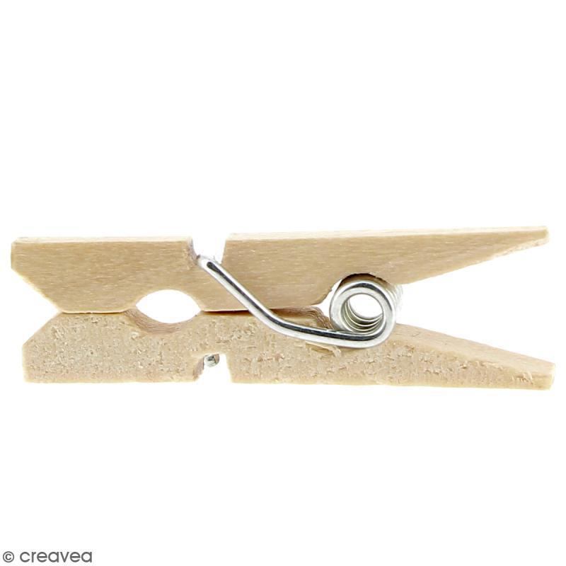 Mini pinces à linge en Bois brut - 2,5 cm - 100 pcs - Photo n°3