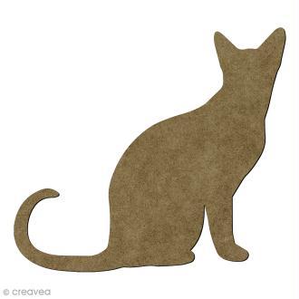 Chat assis en bois - 17 x 15 cm