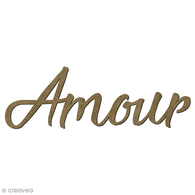 mot amour en bois 6 8 x 2 cm embellissement bois creavea. Black Bedroom Furniture Sets. Home Design Ideas