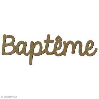 Mot Baptême en bois - 9,3 x 2,5 cm