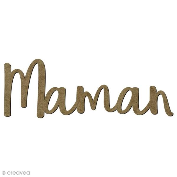 Mot Maman en bois - 6,5 x 2,2 cm - Photo n°1
