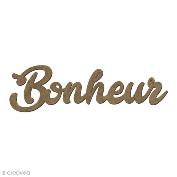 Forme en bois mots - Bonheur - 6 x 1,8 cm - Photo n°1