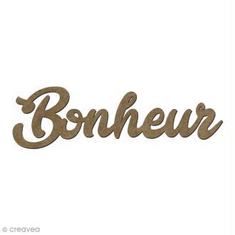 Forme en bois mots - Bonheur - 6 x 1,8 cm